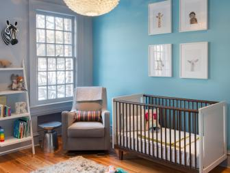 Contemporary Nursery With Baby-Blue Accent Wall