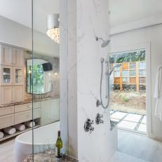 White Walk In Shower With Rainfall Shower Head