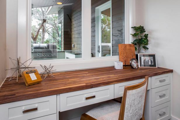 White Desk With Wood Countertop