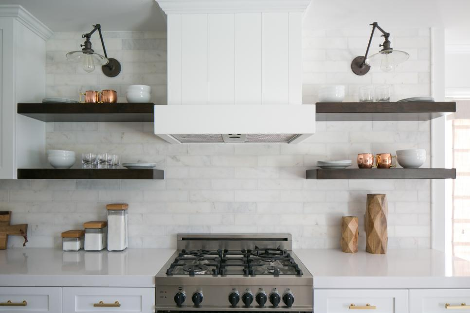 White Marble Backsplash With Open, Dark-Wood Shelves