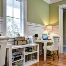 Genial Home Office With Green Walls And Costal Style Wainscoting