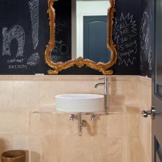 Neutral Eclectic Bathroom With Chalkboard Wall