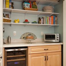 Kitchen Pantry with Shelves and Wine Refrigerator