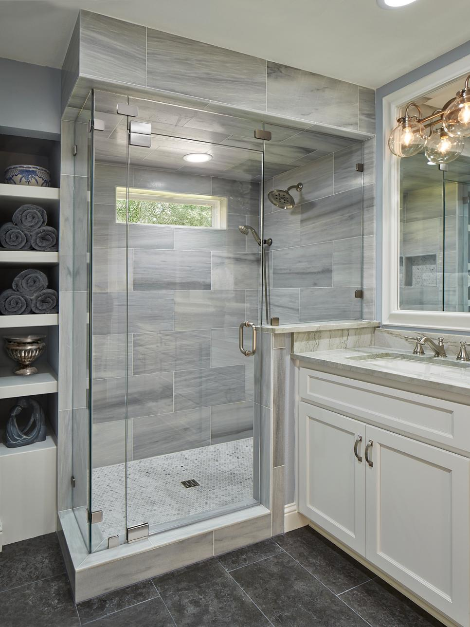Bathroom With Glass And Marble Shower Gray Limestone Floors And Quartzite And Wood Vanity Hgtv