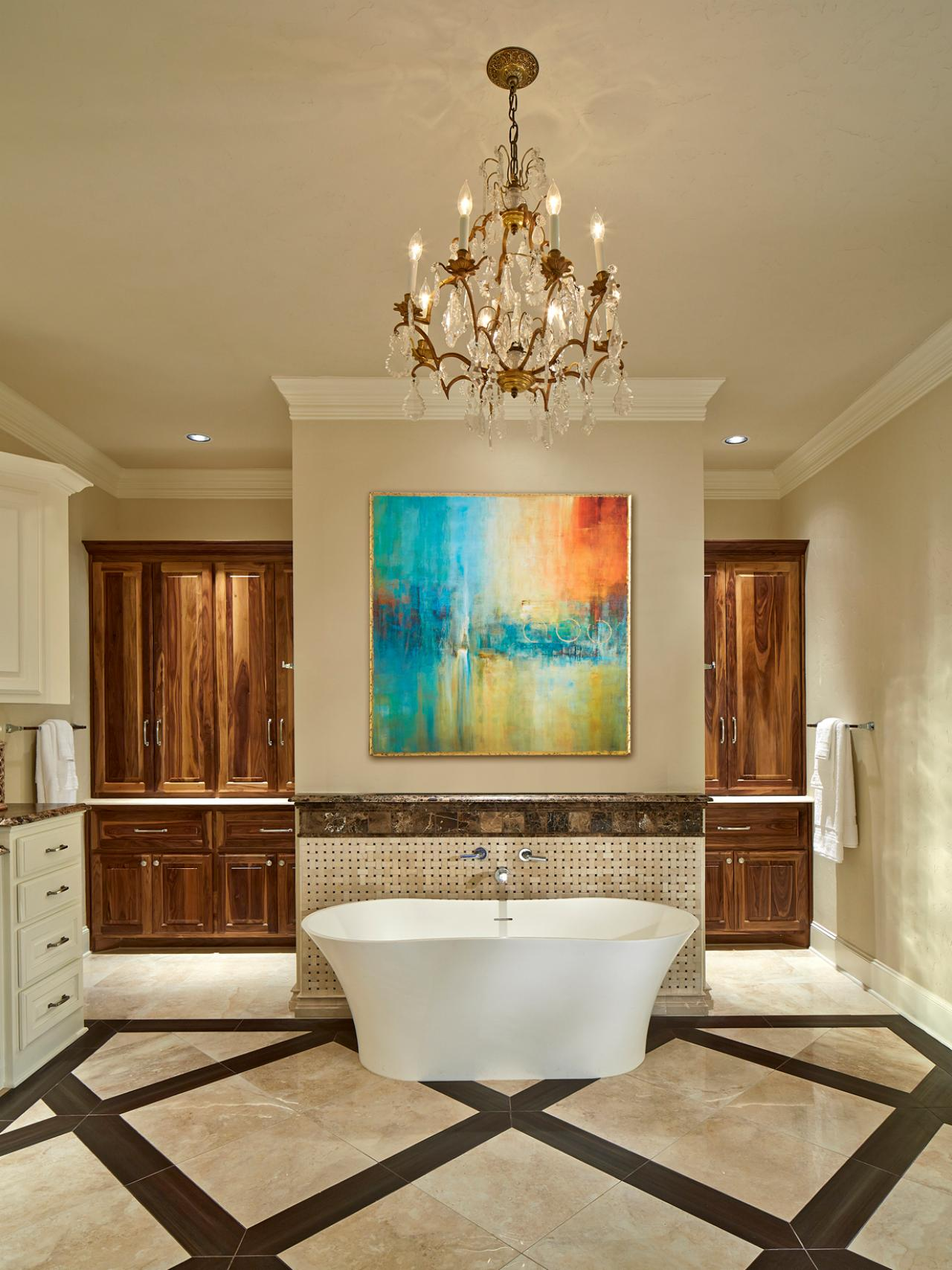 Large Master Bathroom With Freestanding Tub & Modern Art ...