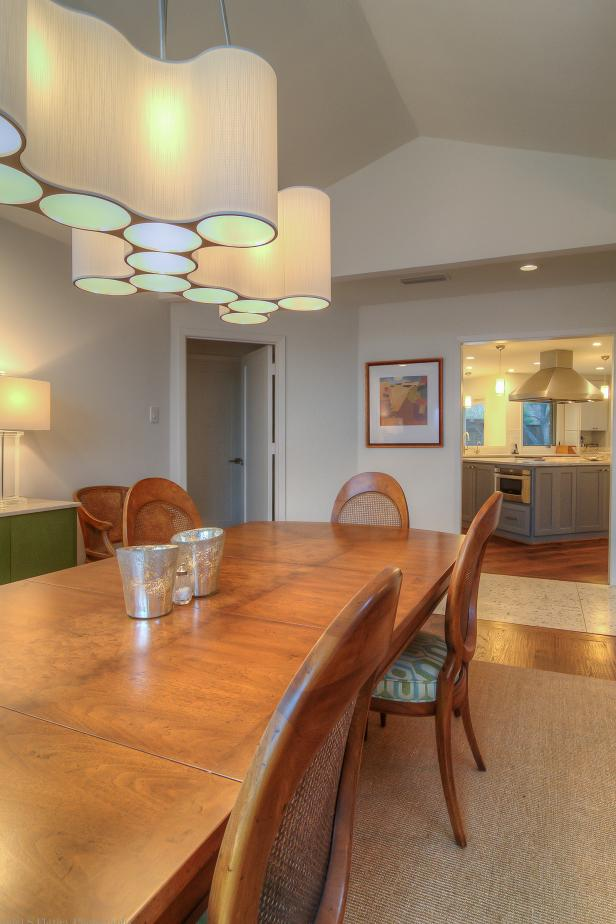 Modern Light Fixture Wows In Transitional Dining Room Hgtv