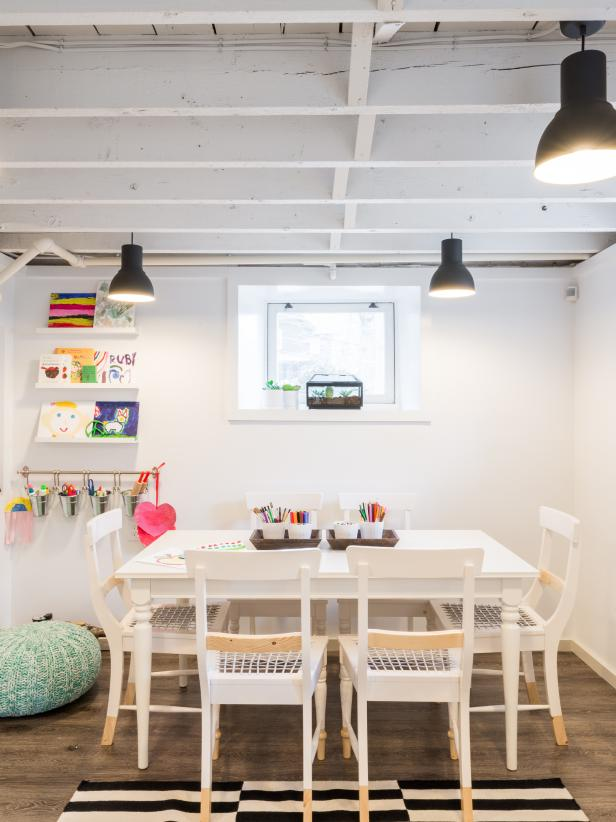 Basement Study Room: Kids' Art Studio In Low-Ceiling Basement Of 1920s Colonial