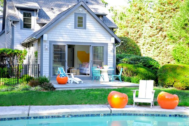 Backyard With Patio, Pool and Contemporary Orange Side Tables