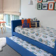 Modern Boys Bedroom Features Custom Blue Daybed
