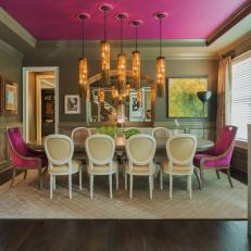 Gray And Pink Dining Room With Pendants