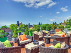 Rooftop Deck With Wicker Furniture