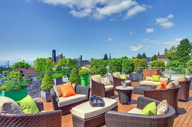 Rooftop Deck Has Multiple Sitting Areas for Taking in Seattle View