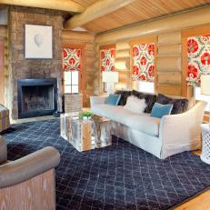 Neutral Rustic Contemporary Living Room With Bright Shades