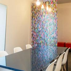 Navy Conference Table and Rainbow Mosaic Panel