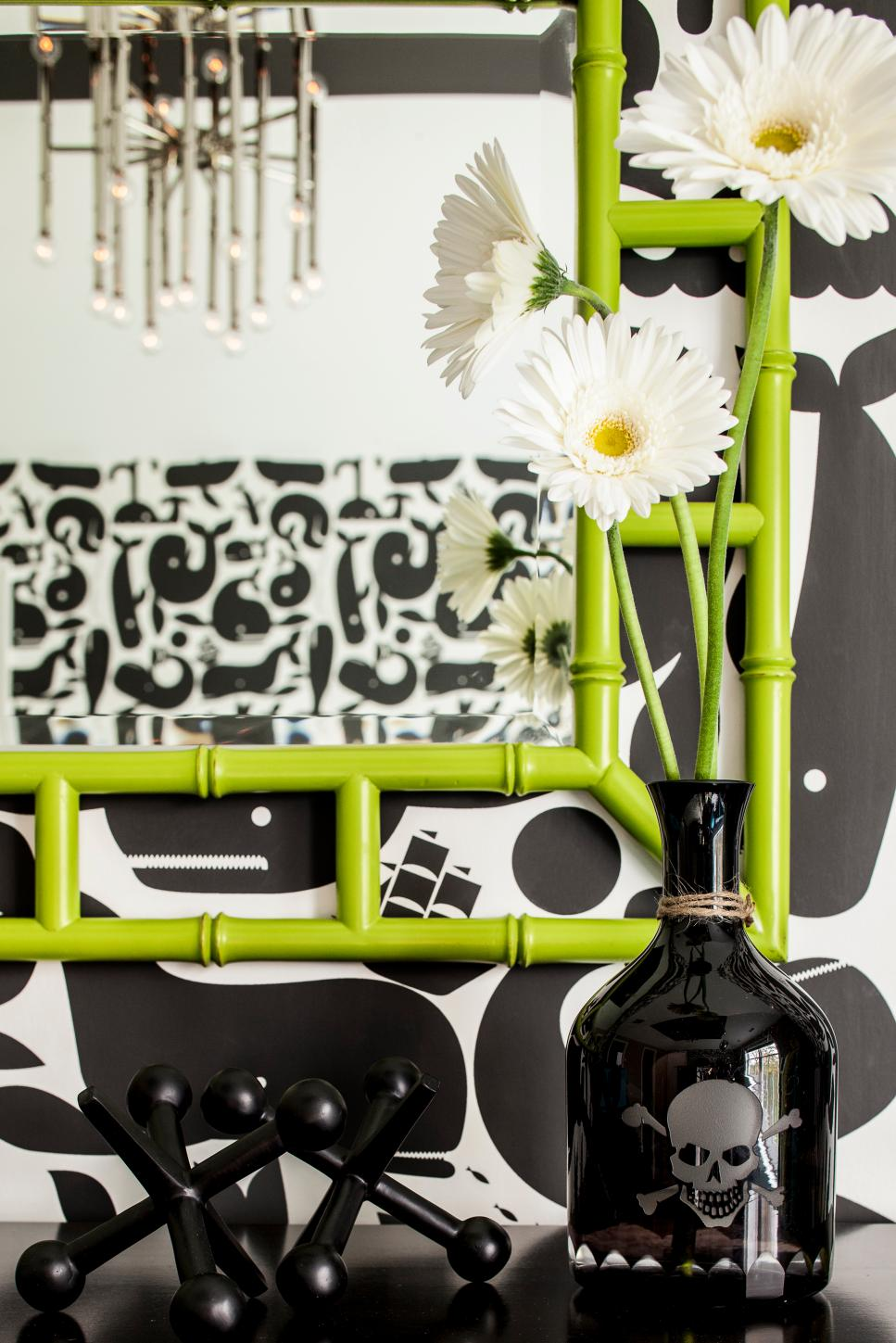 Detail of Graphic Black & White Nursery With Lime Green Mirror