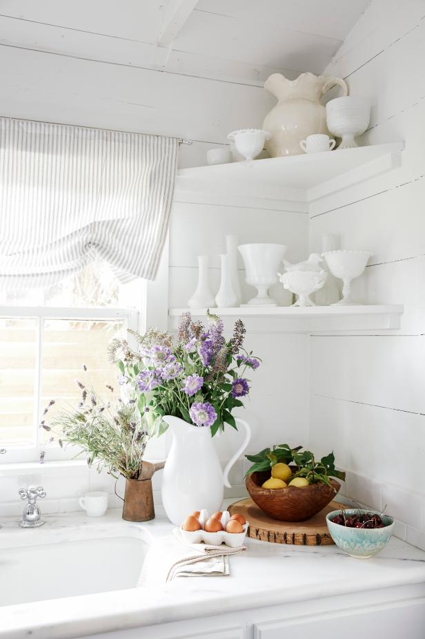 White Country Kitchen Corner With Purple Flowers
