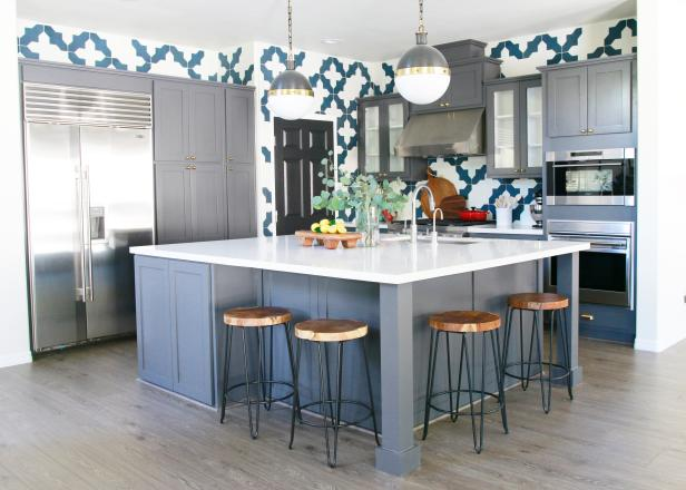Kitchen With Blue-and-White Tiles Plus Gray Island & Cabinets