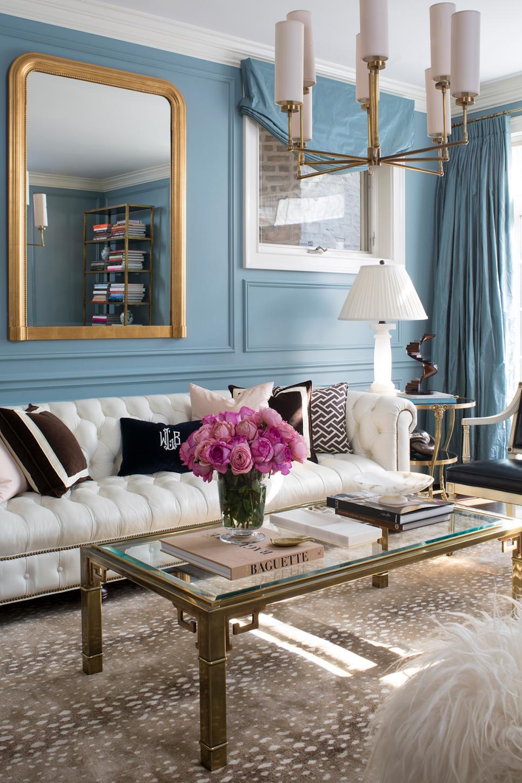 formal living room in dusty blue  hgtv
