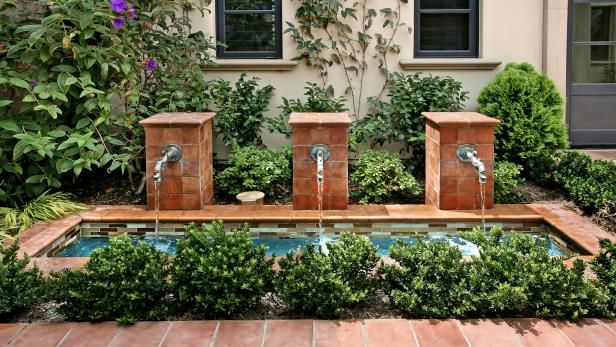 Terra Cotta Fountains in Mediterranean Outdoor Space