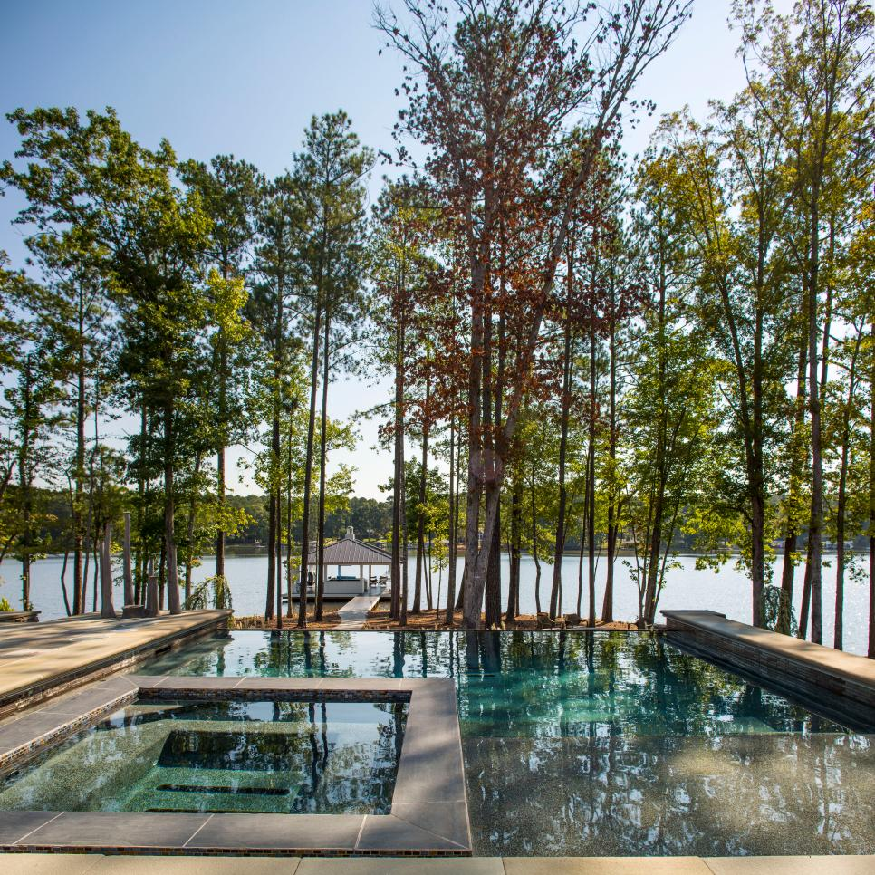 Contemporary Pool & Spa With Lake View