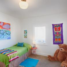 Multicolored Kids Bedroom With Big Teddy Bear