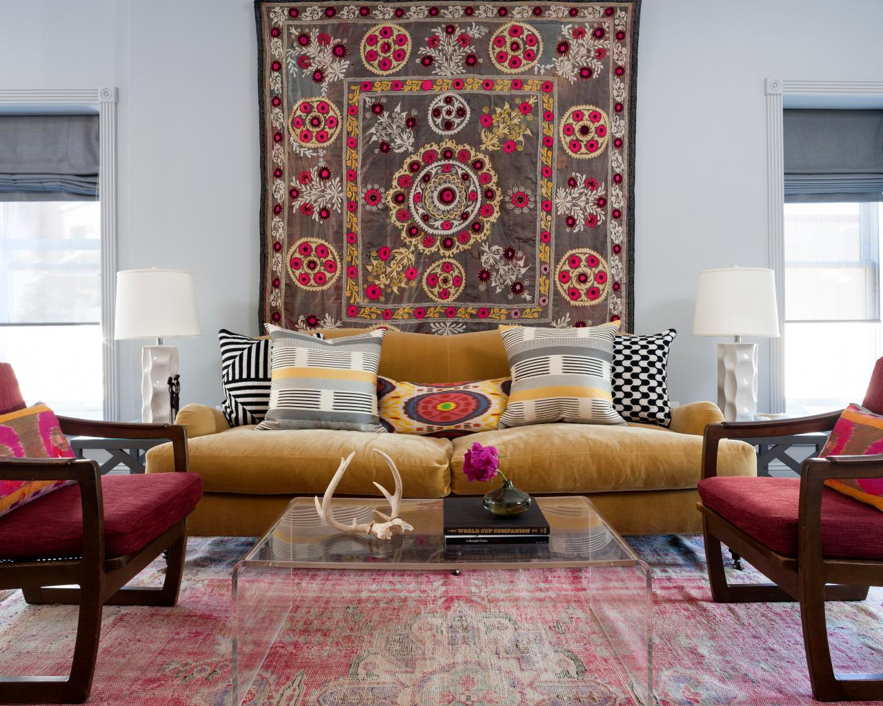 Patterned Tapestry Eclectic Living Room