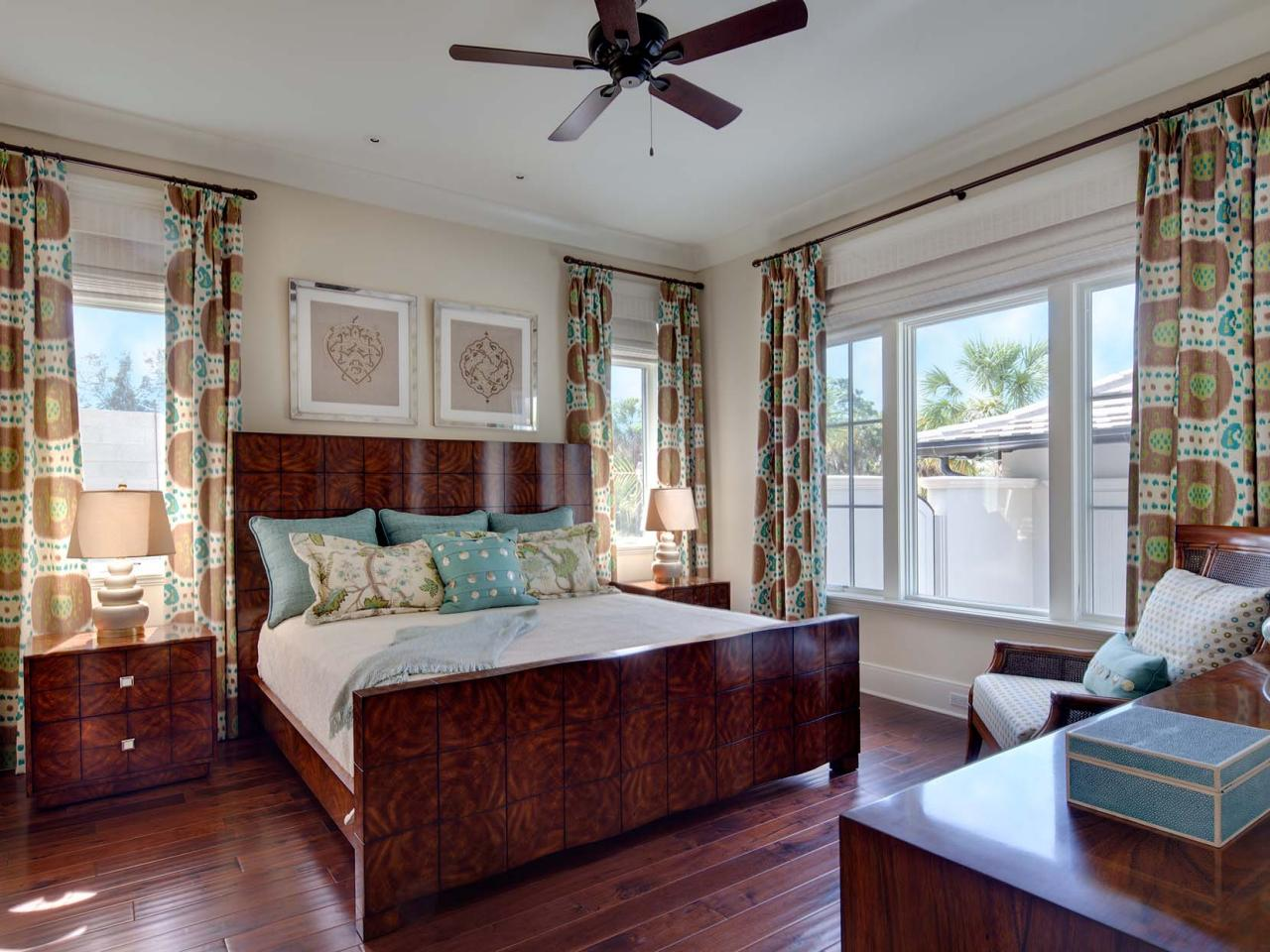 Stylish Wood Transitional Bedroom With Patterned Wood Bed