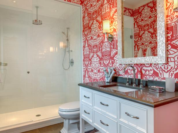 bold orange tropical wallpaper in bathroom with pearl 14828