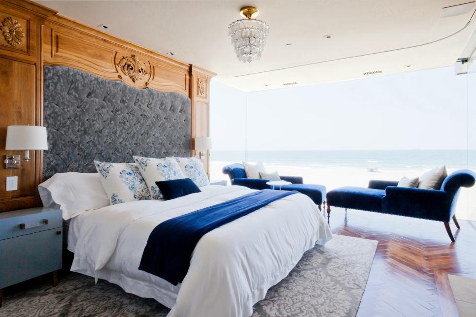Bedroom with Massive Wood and Upholstery Headboard