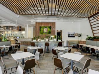 Geometric Trellis Installations Wow in Crisp Dining Space