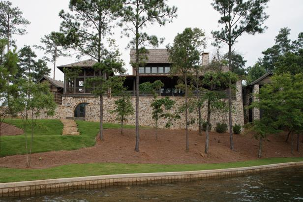Brown Lakefront Home Exterior