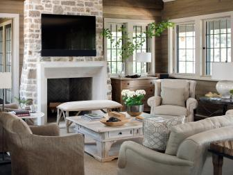 Comfy, Transitional Living Room With Stone Fireplace Surround