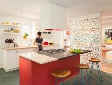 Contemporary Kitchen Boasts Bold Shots of Color