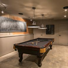 Modern Basement Game Room With Classic Pool Table