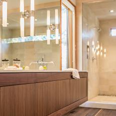 Floating Vanity Wows in Modern Master Bathroom
