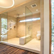 Modern Shower Room With Floor-to-Ceiling Tile