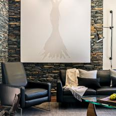 Stacked Stone Walls Create Interest in Modern Living Area