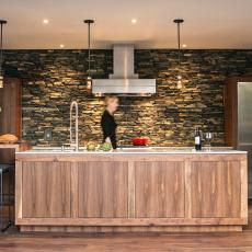 Natural Materials Abound in Sleek Galley Kitchen