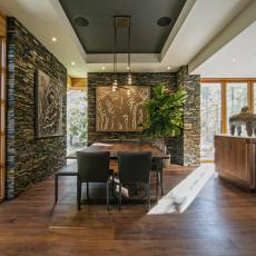 Stacked Stone Dominates Nature-Inspired Dining Room