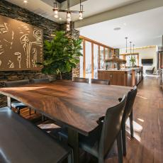 Walnut Table Continues Natural Theme in Dining Room