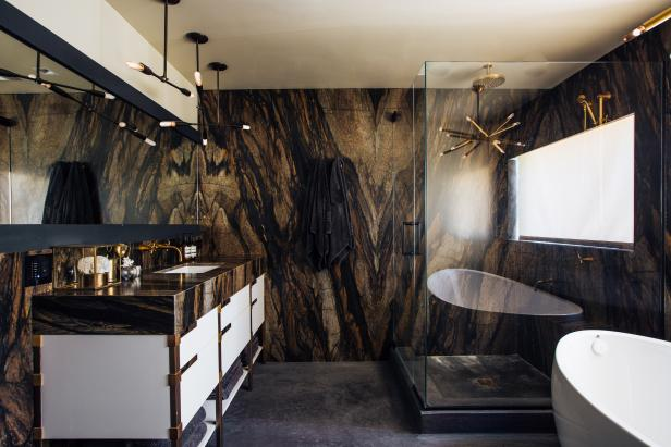 Bathroom With Wood-Patterned Wall Treatment, Shower and Tub