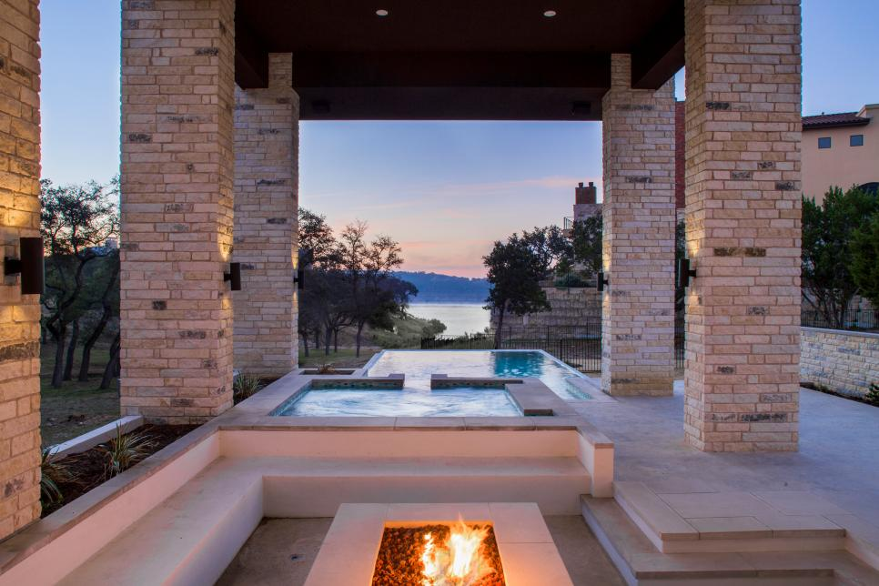 Contemporary Covered Patio With Concrete Fire Pit and Pool