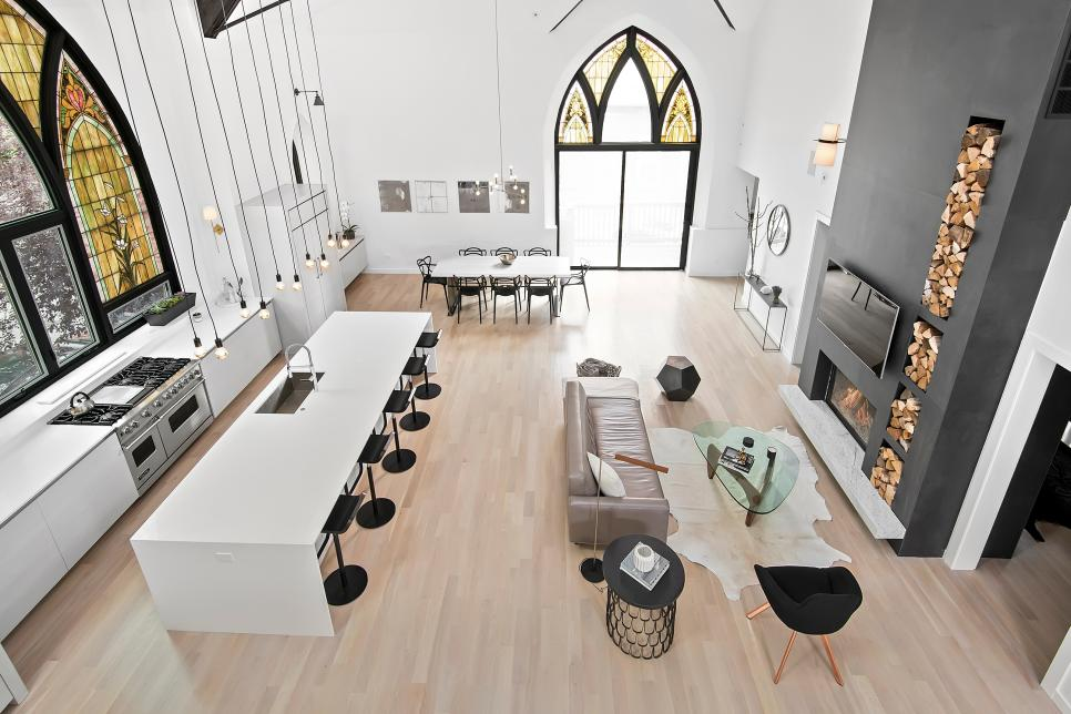 Modern Great Room With Stained Glass Windows