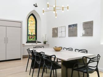 White Modern Dining Room With Stained Glass Window