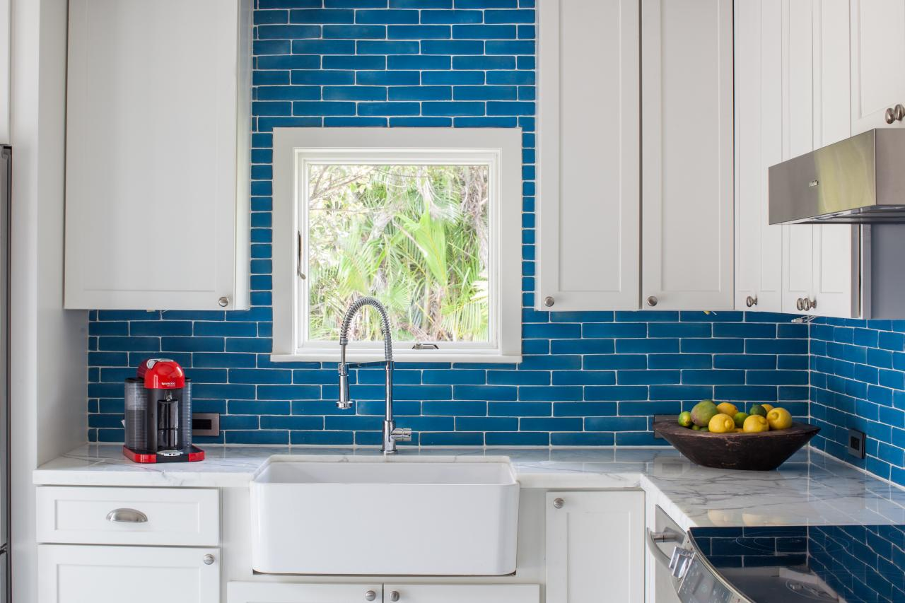Bright Blue Backsplash In 1940s Vintage Glam Kitchen