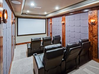 Gray Home Theater With Black Recliners