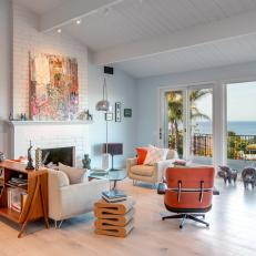 Oceanfront Living Room With Midcentury Modern Furniture