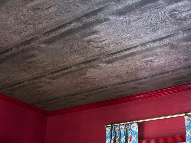 Faux Bois Wallpaper Gives Wood Look And Texture To Living Room Ceiling