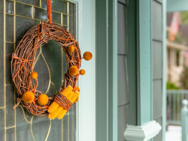 Close-Up of Dried Corn Wreath Hanging on Front Door