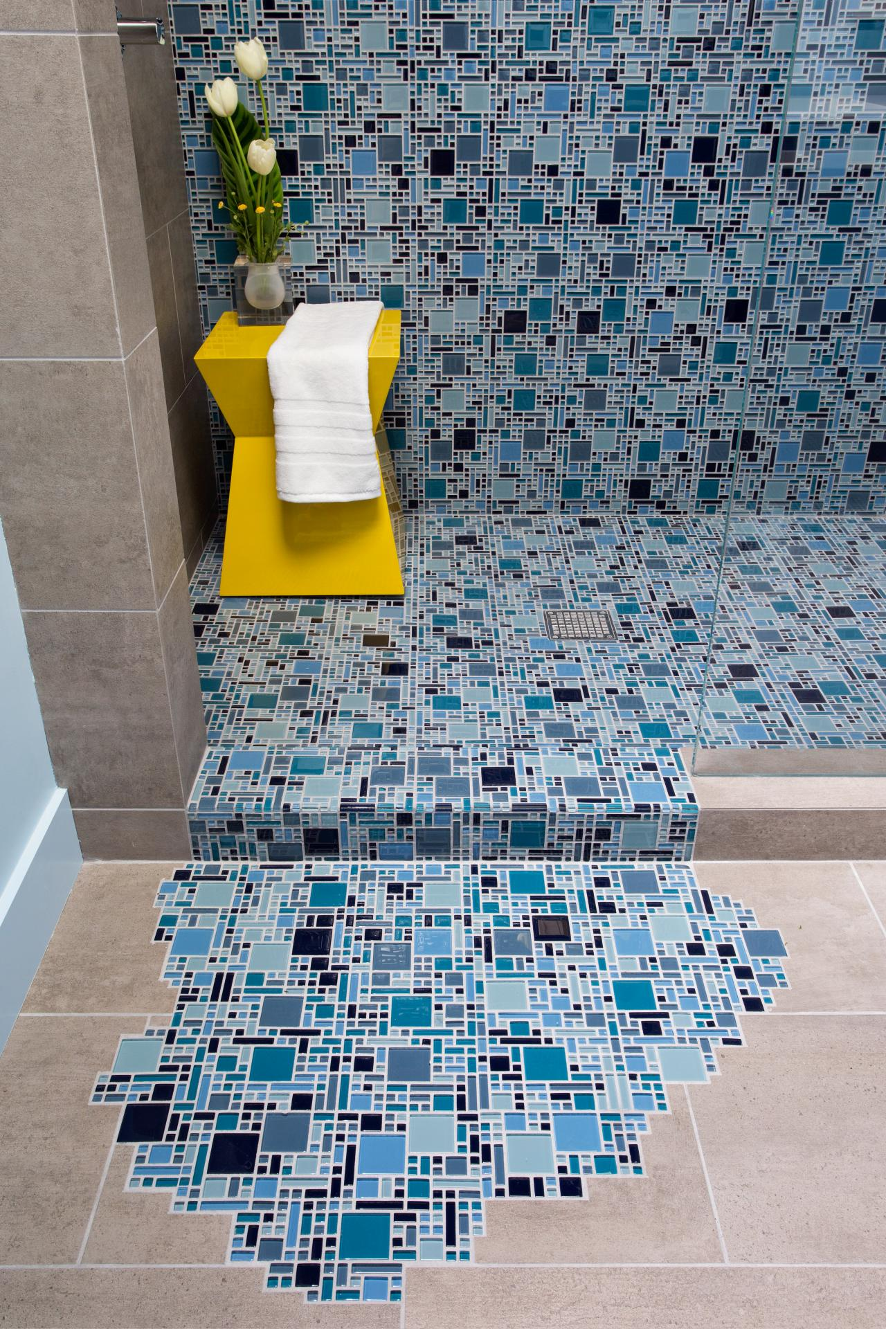 Blue Glass Mosaic Tile With Puddling Effect on Floor | DIY